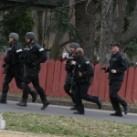 SWAT team members jogging
