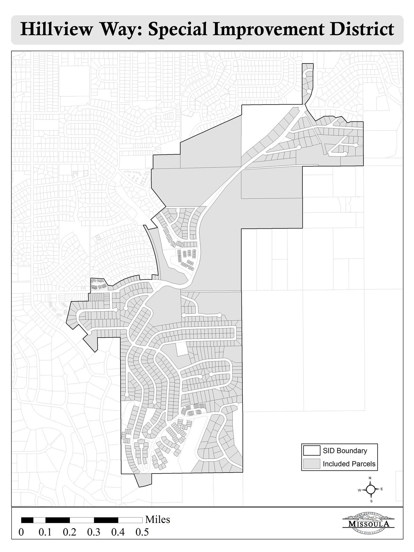 Hillview Way Special Improvement District Boundary Map