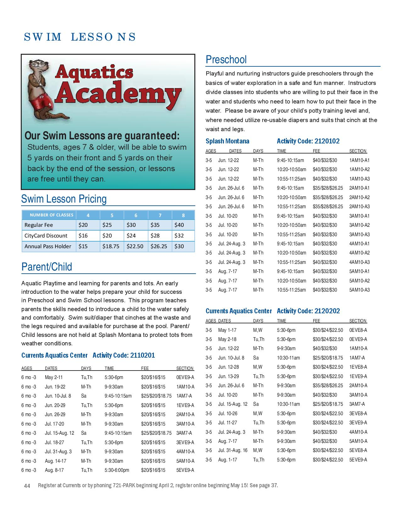 Swim Lessons Summer 2017 page 1