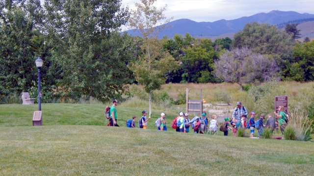 Kids in line for summer camp at Silver Park
