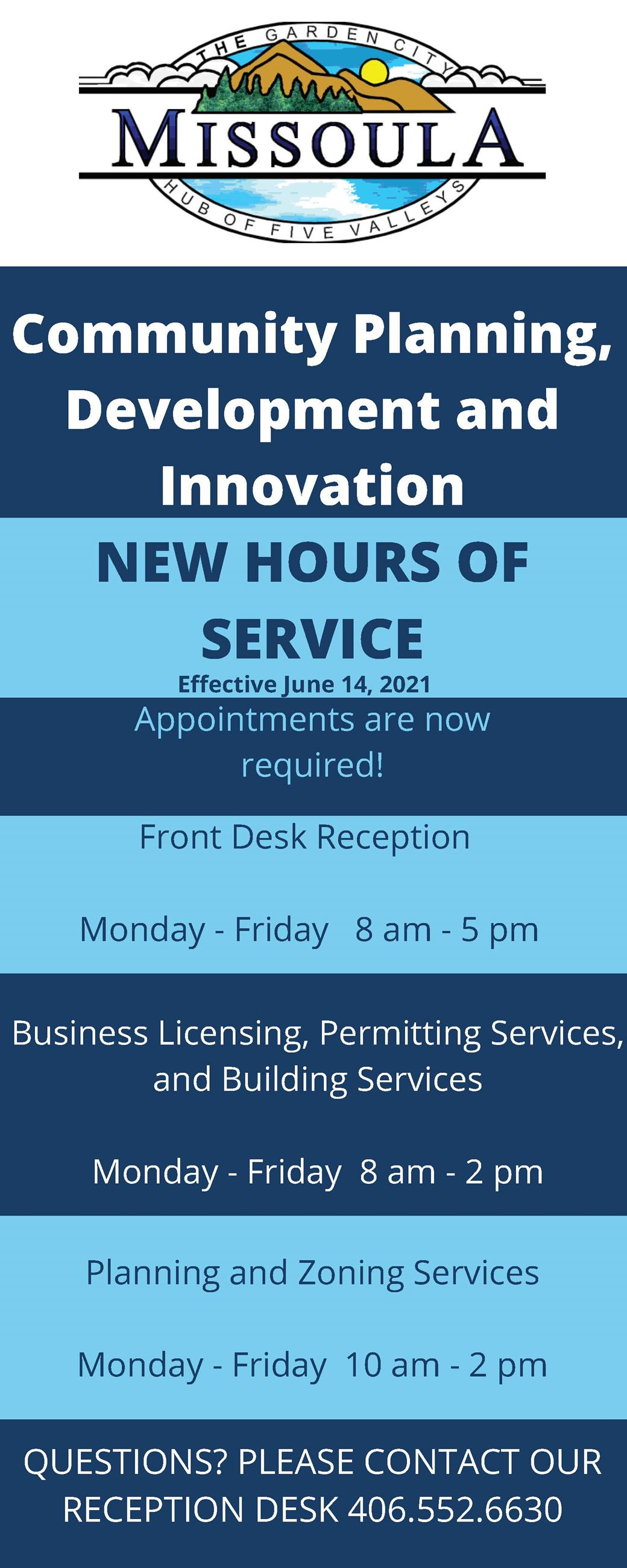 New Walk In Service Hours for Development Services