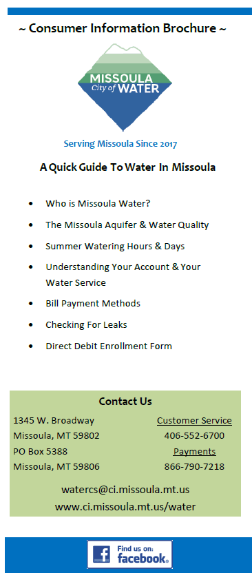 Missoula Water Welcome Brochure Opens in new window