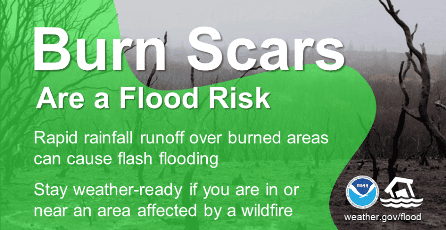 Image of NOAA's reminder that freshly burned land can cause flash floods.