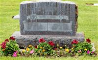 Flower bed in front of headstone