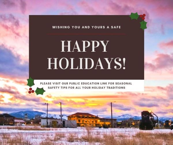 Photo of sunset over MRL and the train station. Happy holidays and safety links in text.